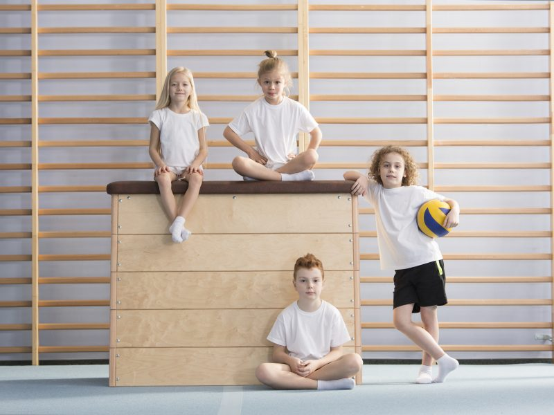 Boy with a ball next to a wooden vaulting box on which smiling children are sitting in the gym hall